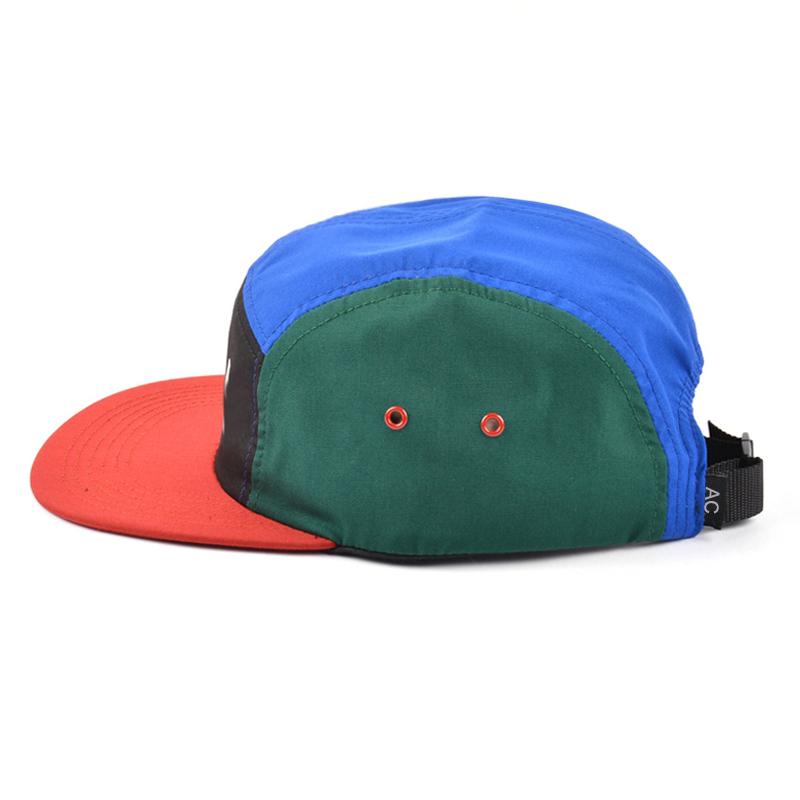 custom logo screen printed hat, multi color nylon 5 panel cap