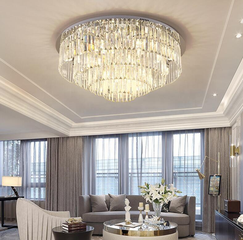 80 см круглый хрустальный потолочный светильник из нержавеющей стали люстра с прозрачными длинными кристаллами