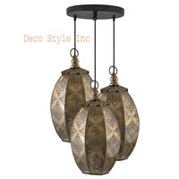 3 Lights Round Chandelier Ceiling Antique Brass Finish Oval Moroccan Hanging Pendant Light with Braided Cord Retro