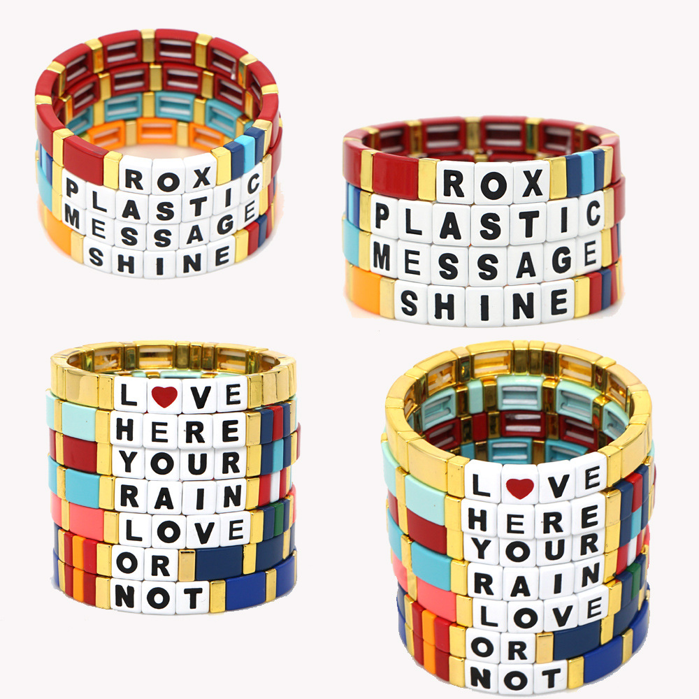 Accept Custom Alphabet Enamel Women Bracelets Bohemia Colorful Tile Block Word Handmade DIY Bracelet 2020