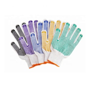 Anti Slip ten needle cotton yarn labor protection safety working gloves with black PVC dot