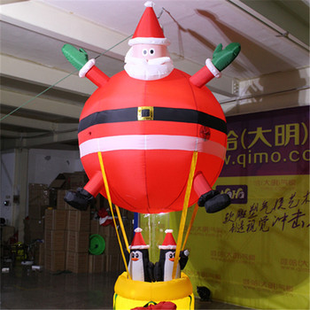 Christmas hanging ceiling decor christmas inflatable penguin and Santa Claus with Balloon for Christmas indoor decoration