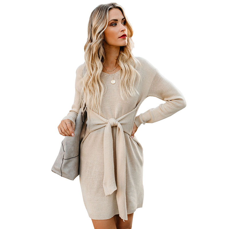 Wholesale  New Arrival Long Sleeve Front Tie Sweater Dress
