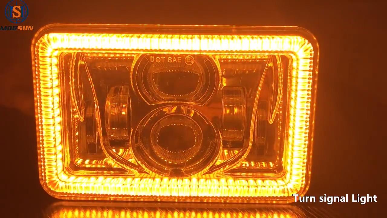 DOT Square Lampu 4X6 Inch Persegi Panjang LED Lampu Hi/Lo Beam Headligths dengan Putih/Amber Fungsi