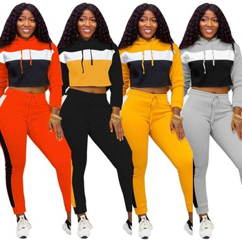 stretch hooded top and pants 2 piece jogging suit for women