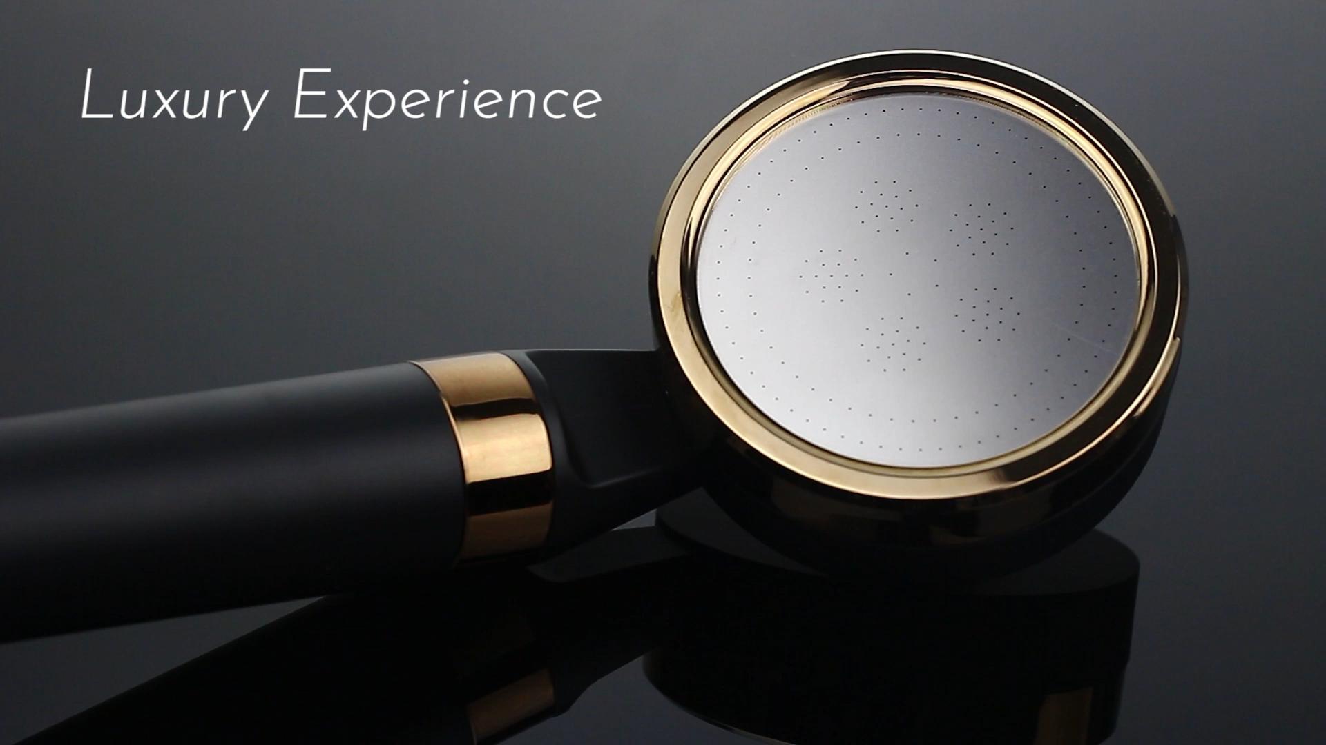Mikro duş başlığı çökelti filtresi 2 PP kartuş adım filtreleme yapı mat siyah modern el duş başlığı