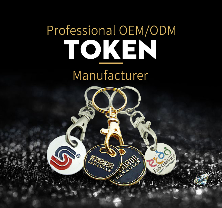 Promotional cheap custom metal enamel trolly token coin holder keychains