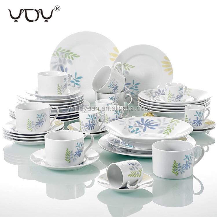 디너 세트 접시 세라믹 도자기 꽃 디자인 럭셔리 도매 요리 화이트 30PCS 접시 세트 식기
