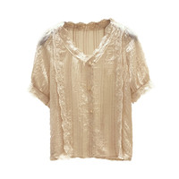 ColdkerFashion Women Sheer Sleeve Embroidery Lace Crochet Tee Chiffon Shirt Top Blouse Blusas Femininas