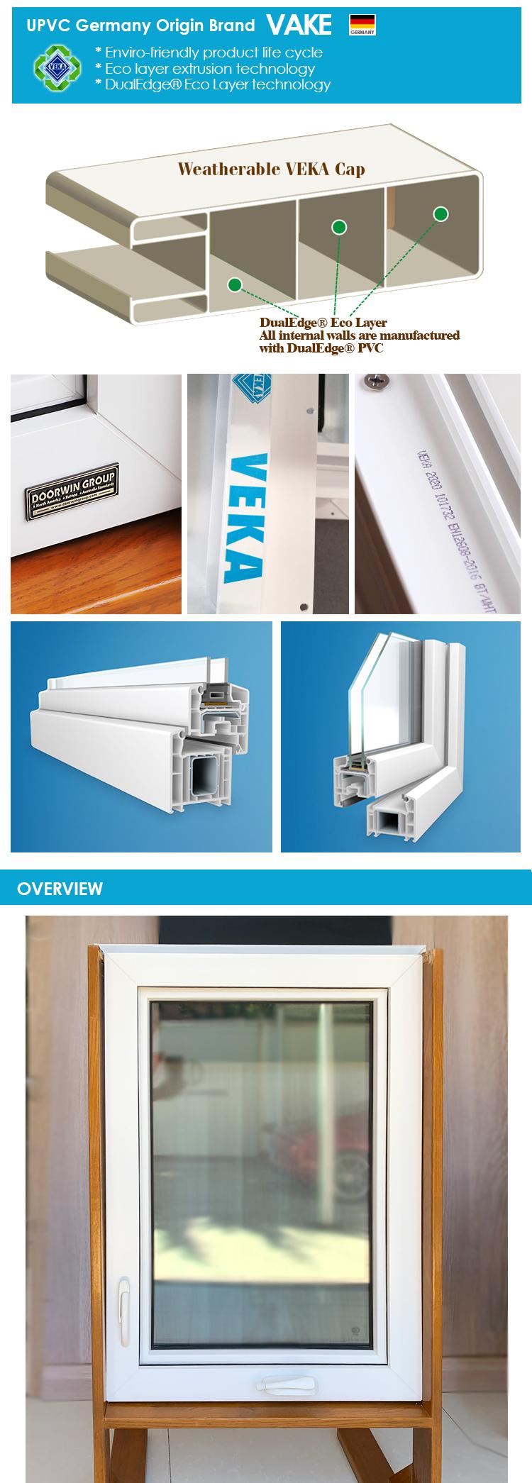 American hot sales vinyl thermal break aluminium double hung large pvc upvc windows for bathroom