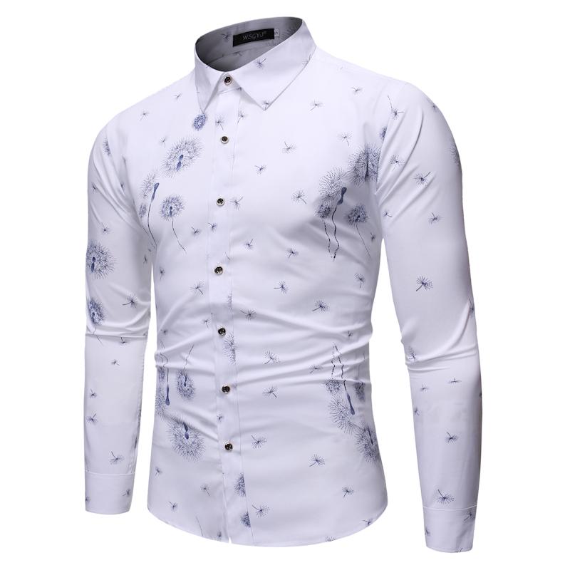 도매 유럽 비즈니스 드레스 단일 브레스트 남자 셔츠 긴 소매 남자 드레스 간단한 셔츠