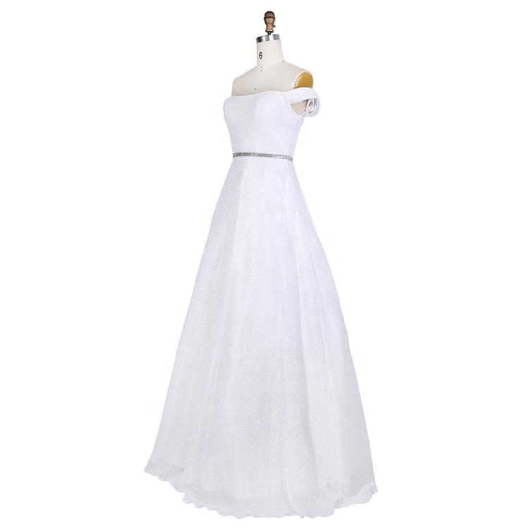 Ladies White Modest Off The Shoulder elegant Rhinestone Belt prom tube dress