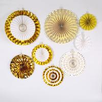 Fashion Christmas and party decoration tissue paper iridescent honeycomb foil balls and fan set