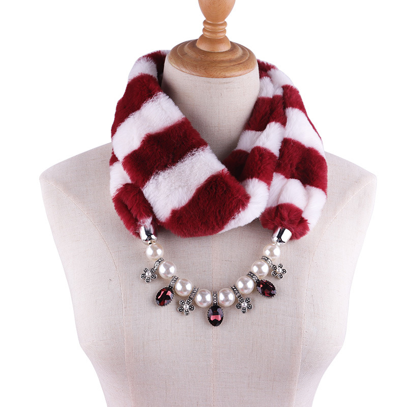 DD200219 Women Winter Grid <strong>Faux</strong> Fur Scarf Loop Circular Neck <strong>Wrap</strong> Scarves with Imitation Pearl Design