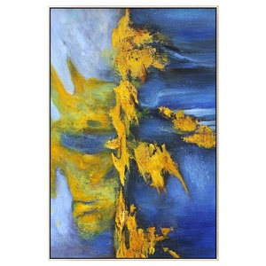 Abstract modern blue yellow wall art canvas beautiful acrylic painting wall decor for living room home decor cuadros