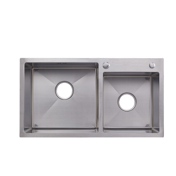 Above counter small double bowl square 304 stainless steel kitchen sink manufacturer