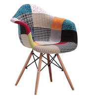 Comfortable Cheap Leisure Chairs / Modern Living Room Furniture Indoor Patchwork Fabric Armchair