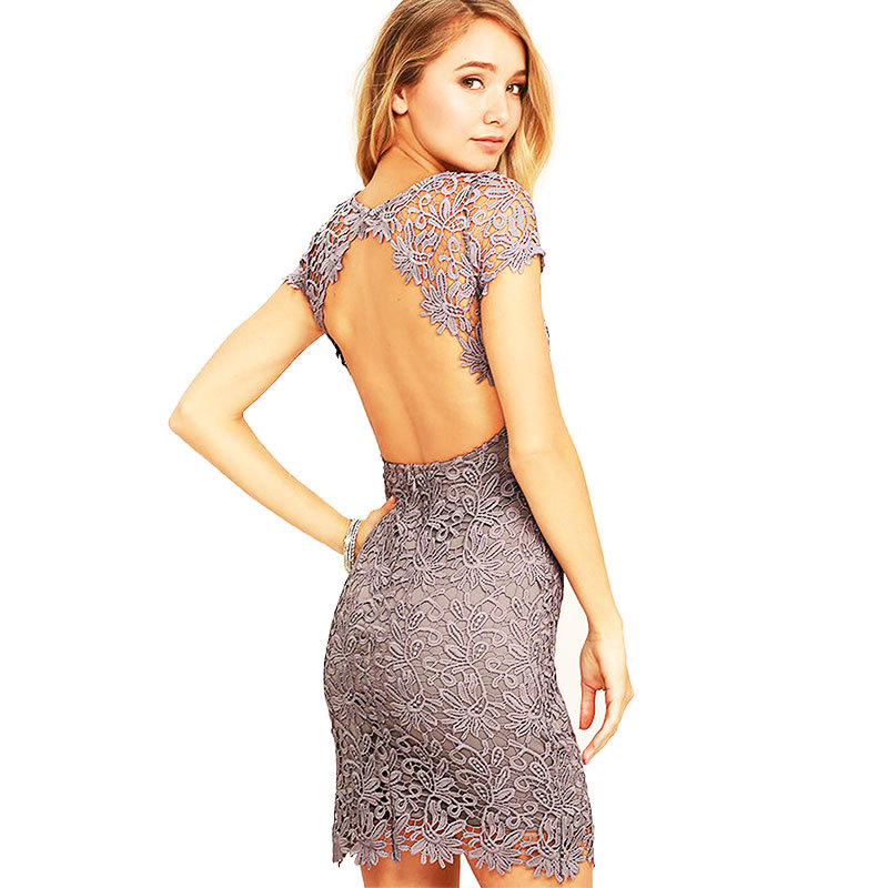New <strong>Women</strong> Elegant Pencil Dress Floral Plain Backless <strong>Lace</strong> Dresses <strong>Women</strong> <strong>Clothing</strong>