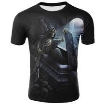 Новая футболка с черепом, Мужская футболка с черепом, футболка в стиле панк-рок, футболка с 3d принтом, ретро Готическая Мужская одежда, летни...(Китай)