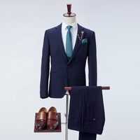 Classic costume made worsted blue slim MTM OEM formal business party men navy royal blue suit
