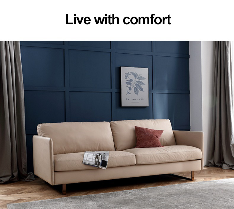 Comfortable Living Room Modern Designs 3 Seater Leather Chesterfield Sofa
