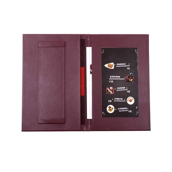 Custom made luxury imitation leather menu covers for restaurant