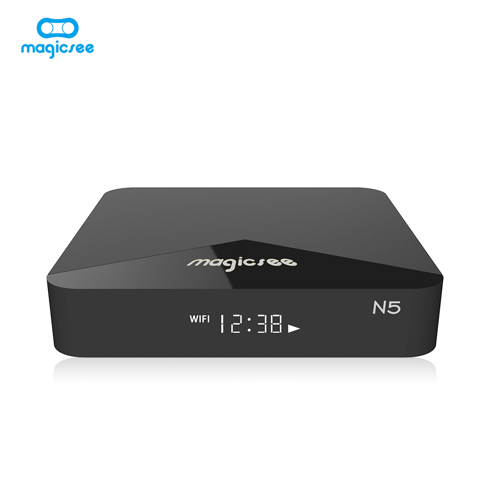 Magicsee Android 9.0 N5 Max TV Box Amlogic S905X2 Quad-core 4GB 32GB Dual WiFi 2.4G + 5Ghz Bluetooth 4.1 4K HD Smart Android Box