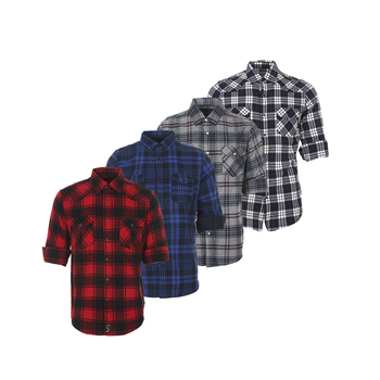 Good quality fancy casual premium men's cotton red black plaid flannel button down shirt
