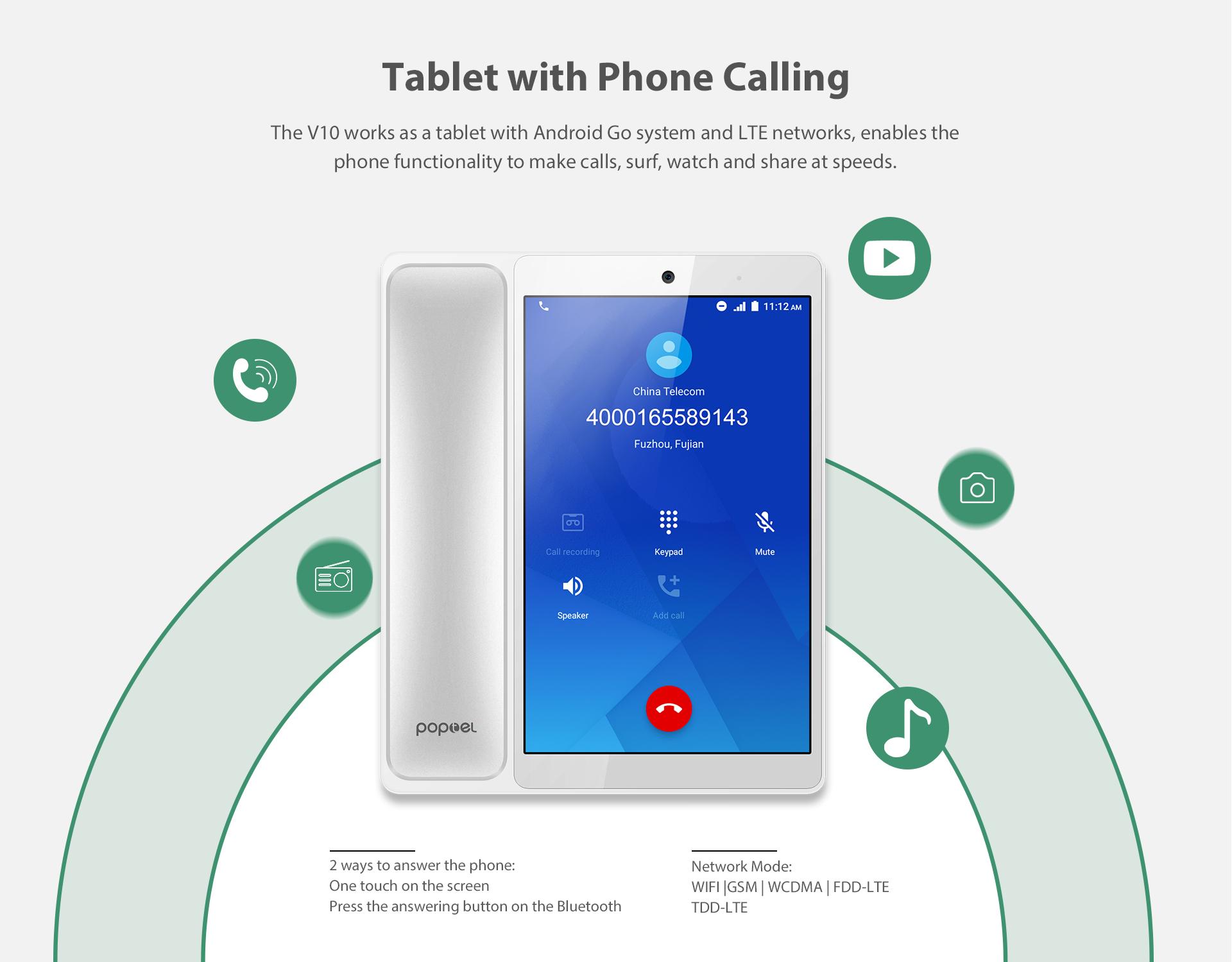 Poptel — téléphone portable V10, tablette intelligente, Android 10.0, Google Play Store, 2 go/16 go, avec carte SIM, 8 pouces