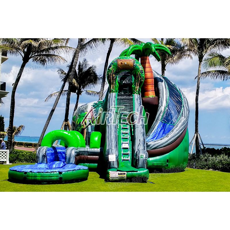 Hot sale blowup coconut falls corkscrew inflatable water slide with pool for kids and adults