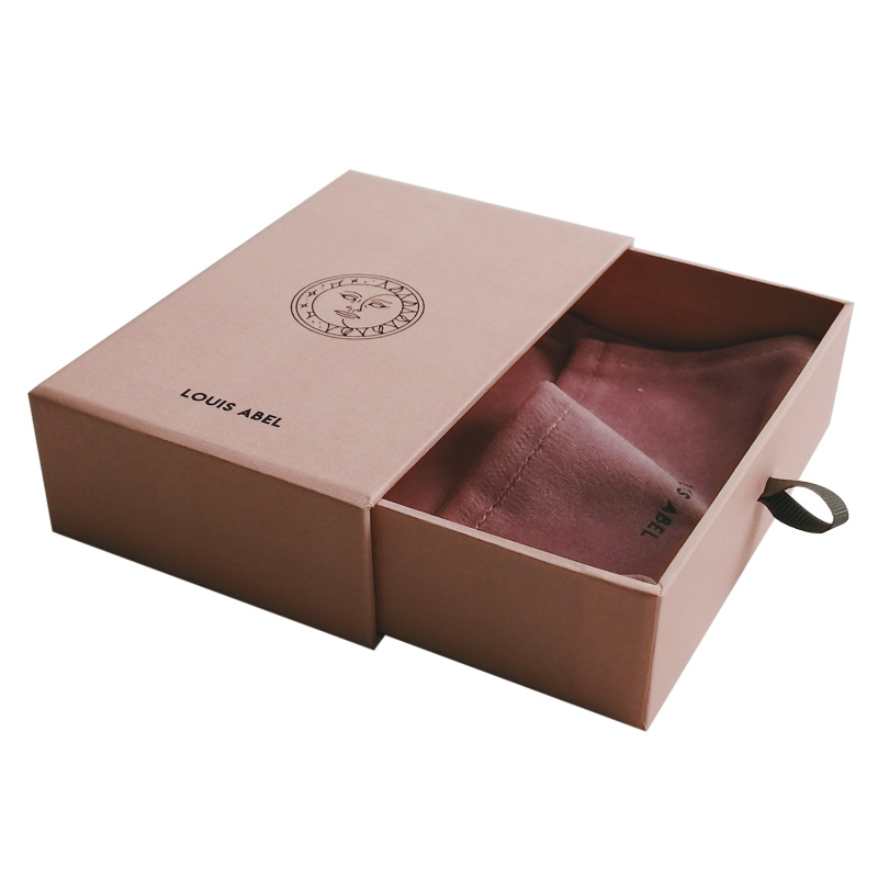 Hot Premium Sliding Pink Jewelry Packaging Paper Jewelry Box With Velvet Pouch Bag