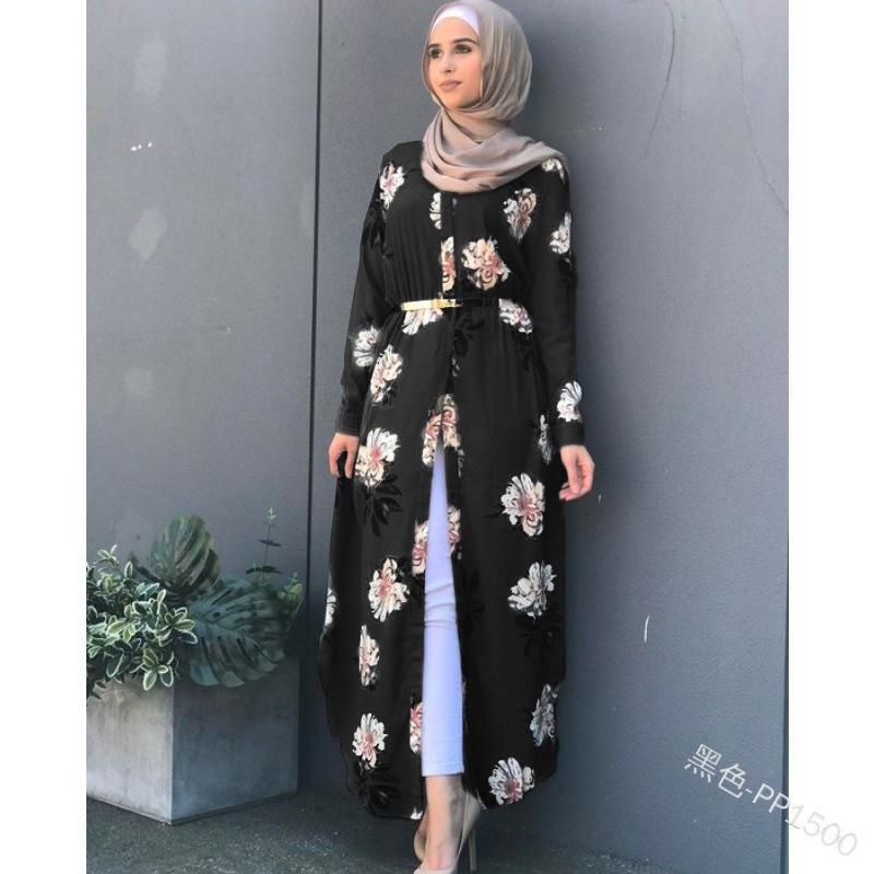 Dubai Fashion Women Muslim Floral Printing Long-sleeve Corset Casual Dress Islamic Ladies Flower Abaya Cardigan
