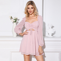 Casual Dress Square Neck Bishop Sleeve Bandage Wrap Ruffle Mini Dresses Womens Clothing