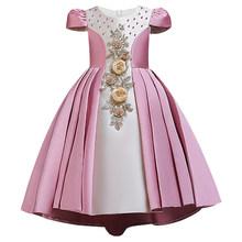 2020 распродажа, Элегантное свадебное платье с цветочным узором для девочек праздничное платье принцессы, длинное кружевное фатиновое плать...(China)