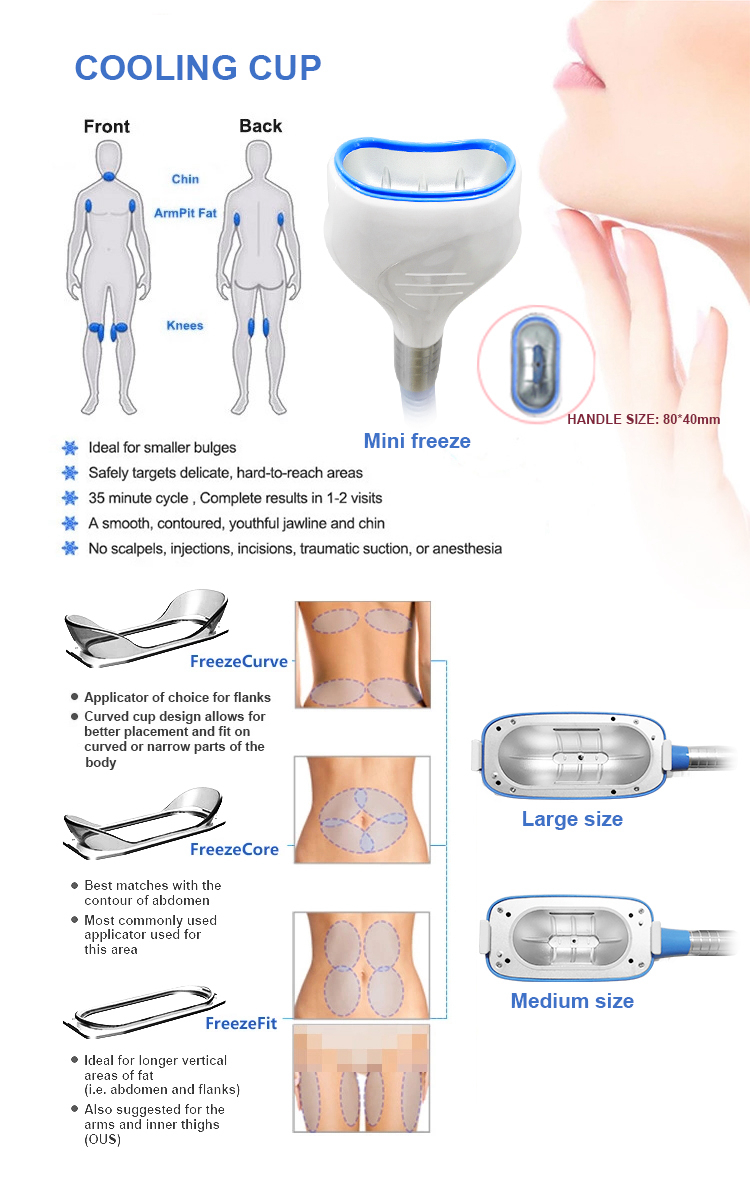 Portable 360 Degree lipolysis Cool Machine cryolypolysis 2 handles with chin Fat Freeze sculpting lipolaser body slim equipment
