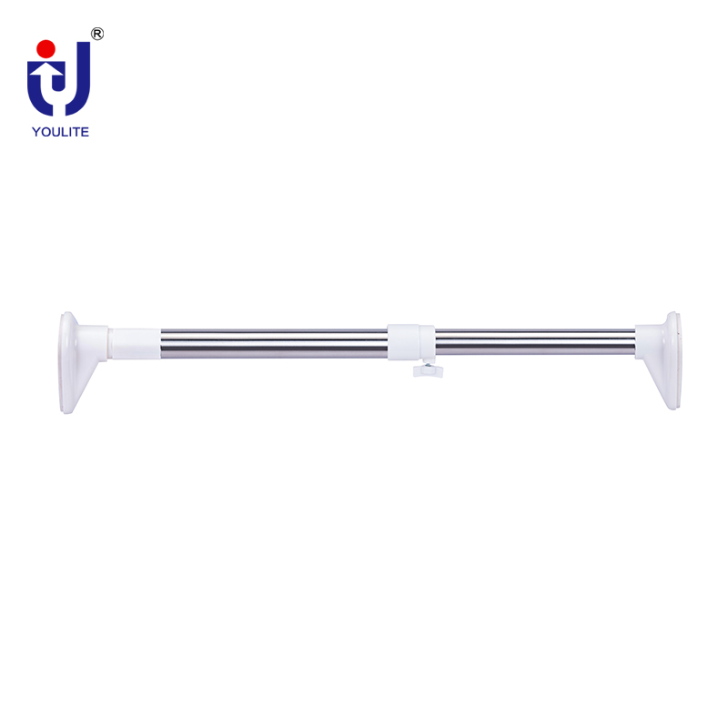 Swivel Adjustable Stainless Steel Shower Telescopic Curtain Rod With Plastic Covers