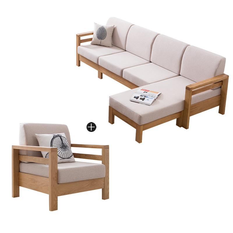 product-living room furniture solid wood l shaped wooden sofa set modern exposed wood frame fabric s-1