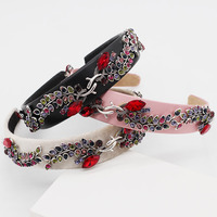 LRTOU Wholesale Custom Fashion Hair Accessory Luxury Color Crystal Hair Band Flower Leather Baroque Hairband Headband For Women