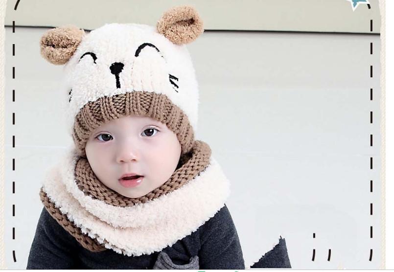 ใหม่ล่าสุดเกาหลีถักหมวกสำหรับทารก 2 ชิ้นหมวกขนสัตว์หมีน้อยหมวกฤดูหนาว