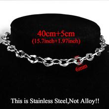 Женское короткое колье-чокер из нержавеющей стали, массивное ожерелье серебристого цвета, 2020(Китай)