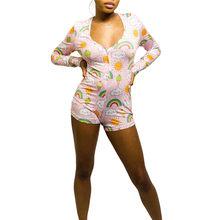 2020 сексуальный женский комбинезон с v-образным вырезом и принтом, ночное белье, обтягивающее на пуговицах, комбинезон, шорты, комбинезон, бод...(Китай)