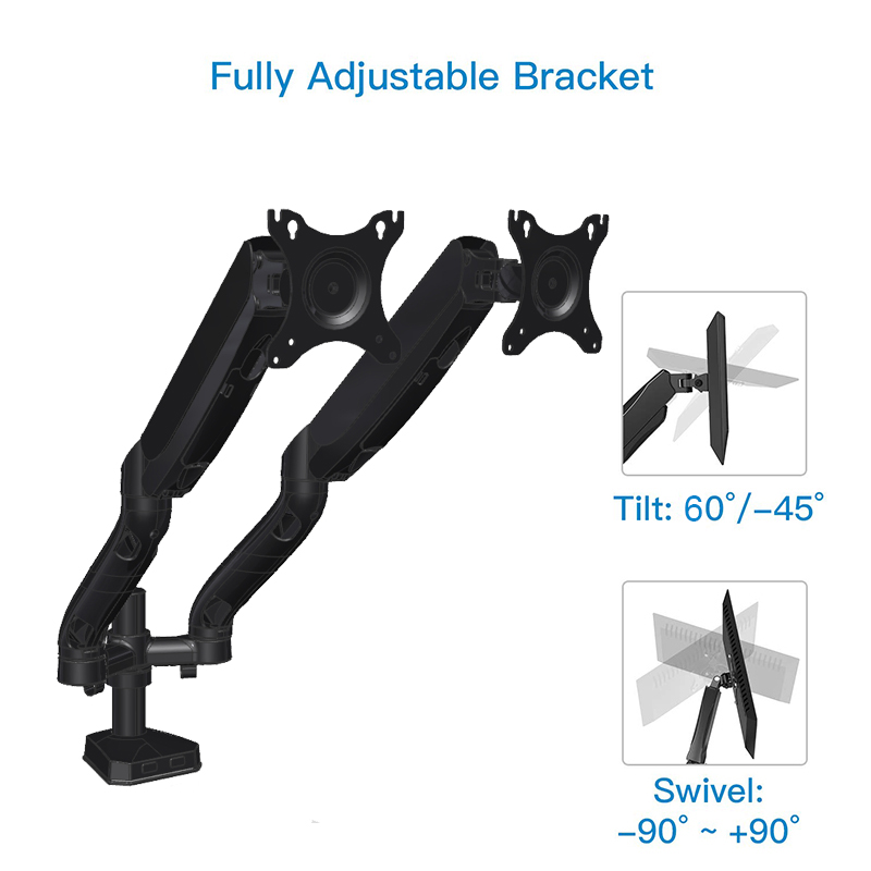 dual monitor arm gas-spring monitor mount swing arm