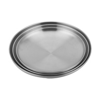 2020 Korean Double Wall Round 201 stainless Steel Metal Food Plate Serving Tray