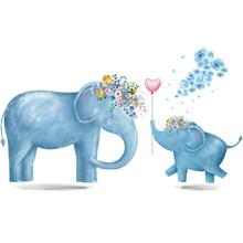 Синий слон цветок воздушный шар наклейки на стену Животные Детская комната декоративные виниловые обои для детской спальни водонепроницае...(Китай)