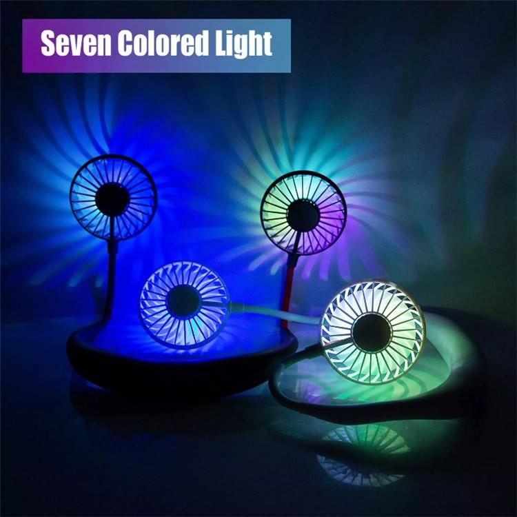 Nuovo Velocità Regolabile LED Collo Appeso Ventilatore Portatile Mini Dual Fan USB di Ricarica Aromaterapia Fan Disegno