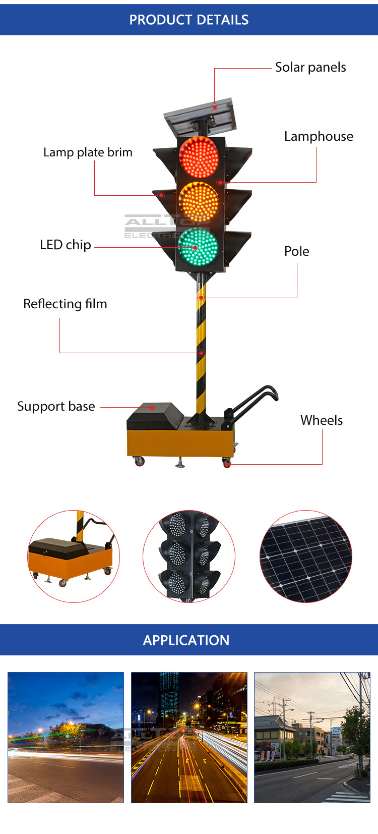 ALLTOP Energy saving ip65 outdoor waterproof 75watt led solar traffic light