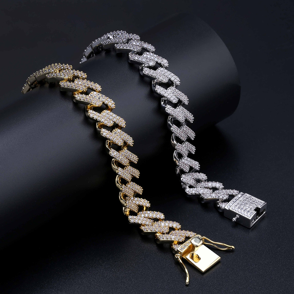 product-BEYALY-Gold Plating Cuban Chain Zircon Hip Hop Bracelet Jewelry For Men-img
