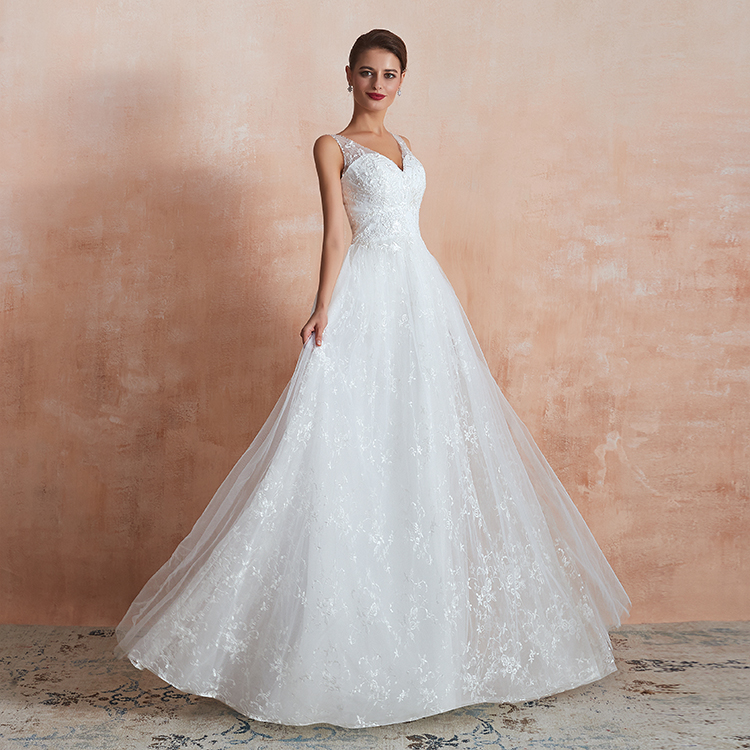 China elegant customized V-neck white lace wedding dresses gowns