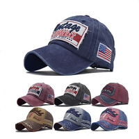 USA Flag Worn Out Vintage Plain Embroidered Torn Washed Distressed Denim Baseball Cap