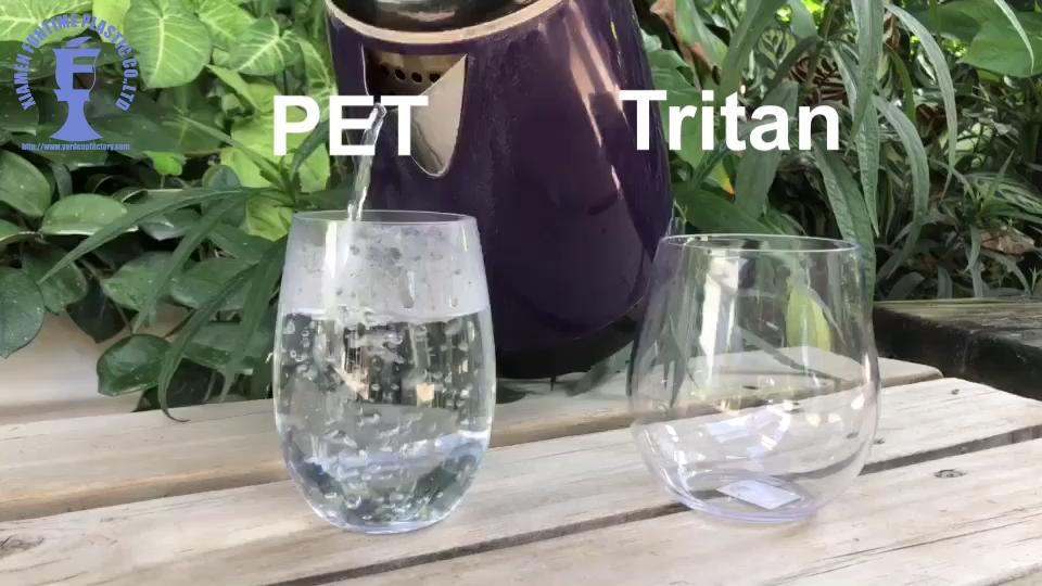Grosir Bisa Dipecahkan Tritan Plastik Tanpa Tangkai Anggur Kaca 16Oz Anggur Tumbler